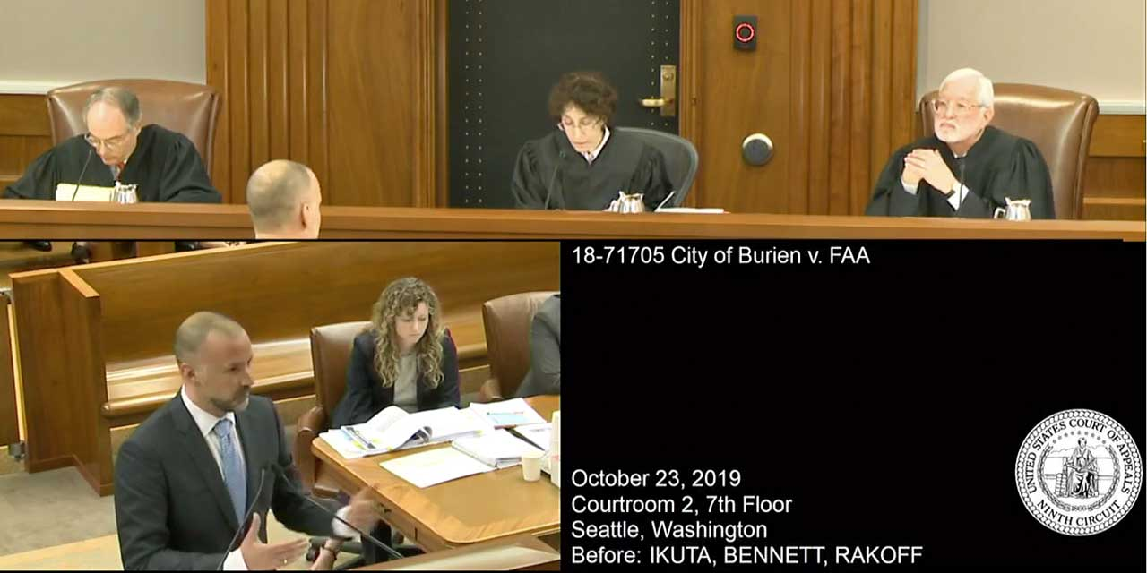 VIDEO: Watch City of Burien present oral arguments against FAA in court
