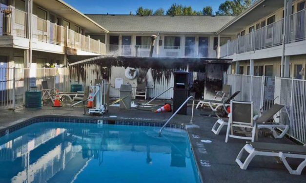 Fire burns pool building at Motel 6 in SeaTac Friday morning